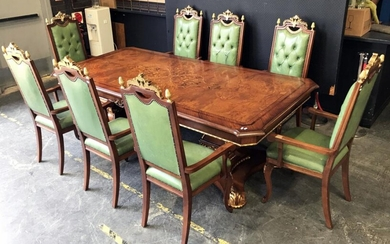 Impressive 9 Piece Dining Suite with Brass Mounts