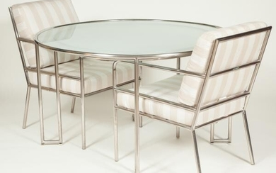 Iron and Glass Dinner Table and Set of Four Armchairs En Suite