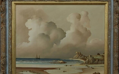 """Jon Holt (American), """"Seascape with Billowing Clouds,"""""""