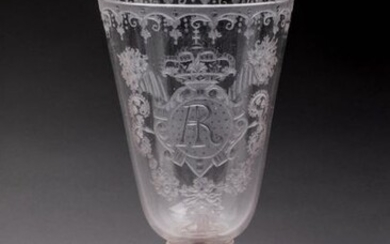 "LEG GLASS with the KING of POLAND in blown glass, flared shape with engraved decoration. Rich ornamentation with monogrammed ""AR"" decoration on a cartouche surmounted by a cup with pearled garlands and a crucigerous orb for the royal crown, surrounded..."