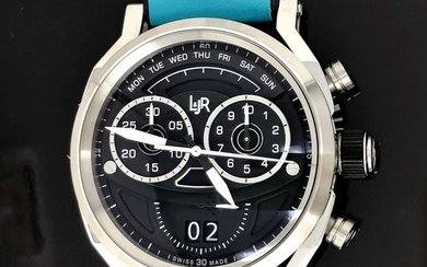 """L&JR - Chronograph Day and Date Black Dial with Miami Blue Strap Swiss Made - S1502-S9 """"NO RESERVE PRICE"""" - Men - Brand New"""