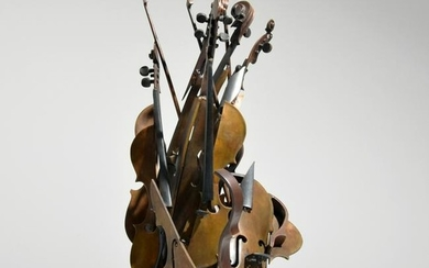 "Large Arman ""Choreographer"" Bronze Violin Sculpture"