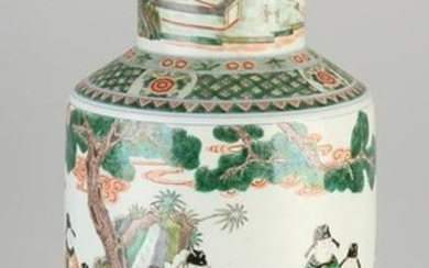 Large Chinese porcelain Family Verte vase with round