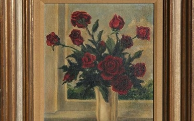 M. Burril, Red Roses by Window, Oil Painting