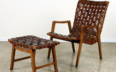 MID CENTURY MODERN OPEN ARM CHAIR & STOOL LEATHER