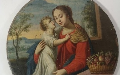 """Madonna with baby Jesus"" (1) - oil on wood panel - Early 19th century"