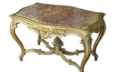 Middle table - Louis XV Style - Gilt, Marble, Wood - Second half 19th century
