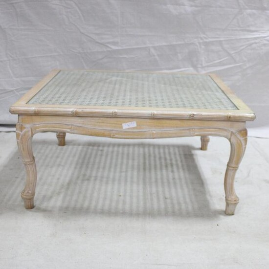 Modern Square Glass & Rattan Coffee Table