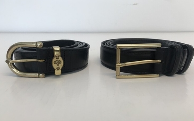 Mulberry: A collection comprising of two belts made of respetively smooth black leather and black croc embossed leather. Size 110. (2)