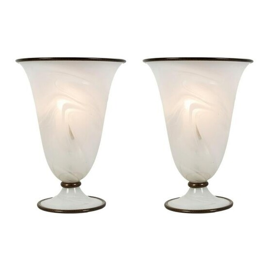 Murano Opaque Art Glass Torchiere Table Lamps PAIR