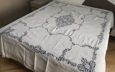 Museale double bedspread in 100% linen with cantu embroidery and full hand stitch - Linen - 21st century