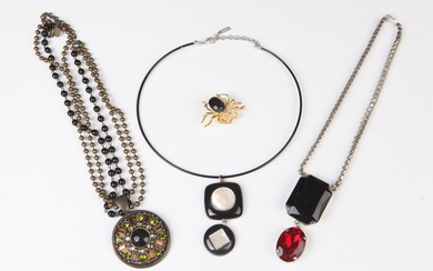 NAPIER BLACK CHOKER WITH MOTHER-OF-PEARL PENDANT; WITH SELECTION OF OTHER...