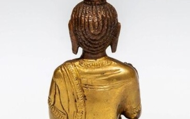Nepal, partly gilded bronze figure of Buddha, 20th...