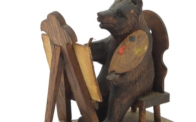 Novelty miniature Black Forest carved wooden bear seated at ...