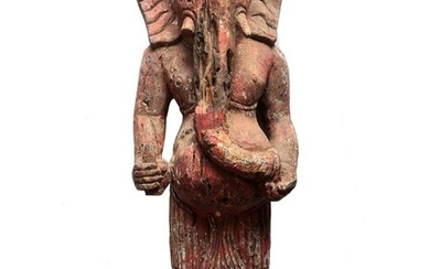 Old large sculpture of Ganesh in carved wood - Wood - Cambodia - 18th century