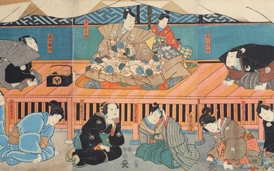 "Original woodblock print triptych - Paper - Utagawa Kunisada (1786-1865) - Performance of the kabuki play ""Meiyo jinsei roku"" 名誉仁政録 - Japan - 1852 (Kaei 5), 7th month"