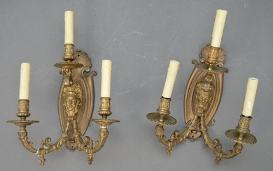 PAIR ANTIQUE BRONZE 3 LIGHT SCONCES WITH FIGURAL PLATE