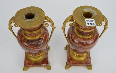 """PAIR BRONZE & MARBLE CANDLEHOLDERS, 10""""H"""