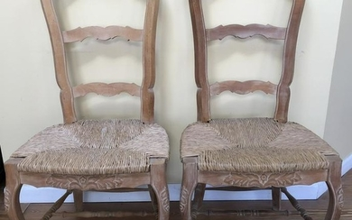 Pair French Country Ladder Back Rush Carved Chairs