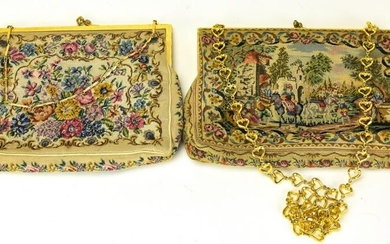 Pair Vintage Petit Point Tapestry Hand Bags