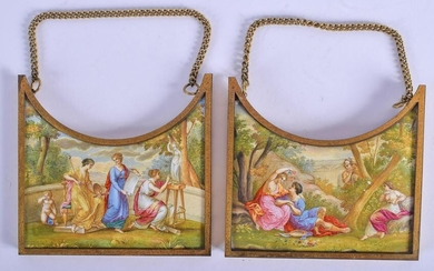 Pair of 19th C. Viennese Enamel Austrian Plaques