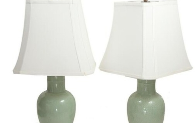 Pair of Celadon Vases Made Into Lamps, 19th Century