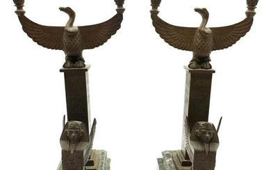 Pair of Egyptian Bronze Statues