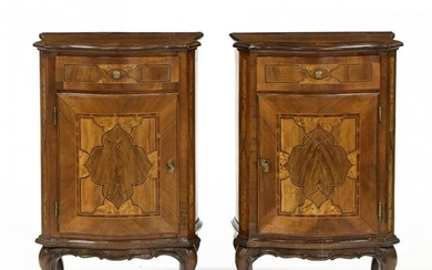 Pair of Italianate Inlaid Walnut Bedside Cabinets