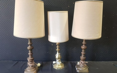 Pair of Ornate Brass Candlestick Form Table Lamps (H:76cm) together with a Similar Example