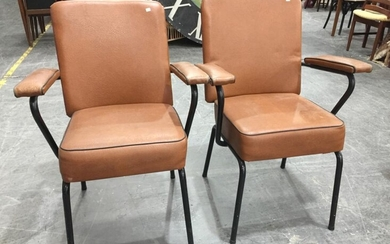 Pair of Vintage Metal Framed Reception Chairs (H:89 W:61cm)
