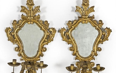 Pair of cornucopias in carved and gilded wood with two