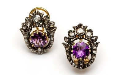 Pair of gold and silver earstuds, partly 19th...