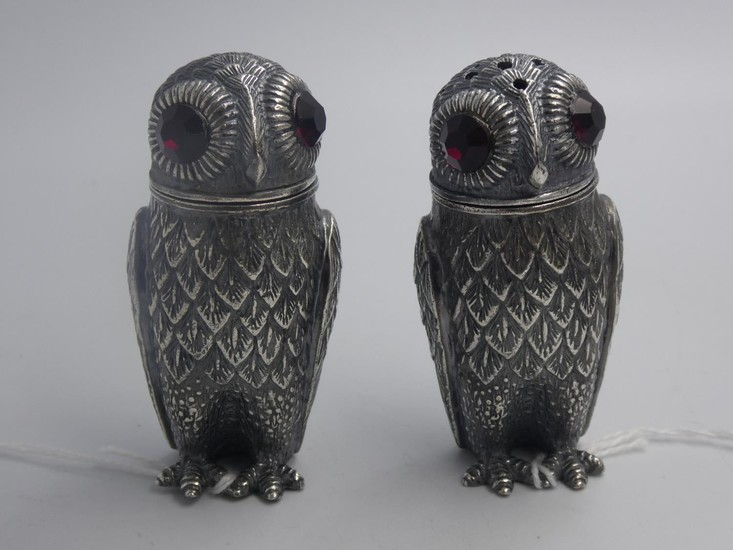 Pair of unusual condiments in the form of owls with glass ey...