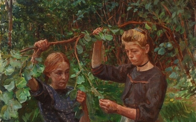 Peter Hansen: Young girls picking nuts. Signed with monogram. Oil on canvas. 84×97 cm.