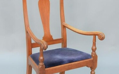 Queen Anne Cherry Great Chair, with upholstered slip