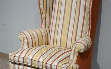 Queen Anne Style Striped Upholstered Wing Chair