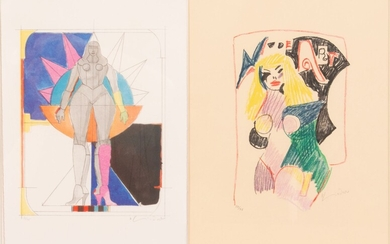 """RICHARD LINDER (AMER/GERMAN, 1901-78) TWO LITHOGRAPHS IN COLORS ON WOVE PAPER, H 22"""", W 18"""", UNTITLED; NUDE ART I"""