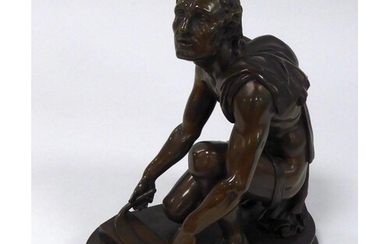 RON LIOD SAUVAGE, PATINATED BRONZE SEMI NAKED FIGURE OF THE ...