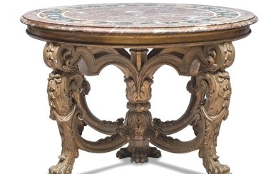 ROUND TABLE IN GILTWOOD AND MARBLE 19TH CENTURY