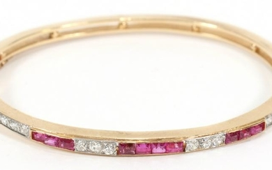 RUBY AND DIAMOND, 14KT YELLOW GOLD, BRACELET