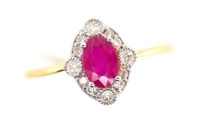 Ruby and diamond set 18ct yellow gold ring marked 750. Appro...