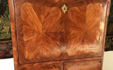 SECRETARY in veneer and butterfly wing marquetry in fretworked frames...