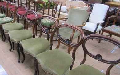 SET OF FIVE MID VICTORIAN ROSEWOOD BALLOON BACK DINING CHAIR...