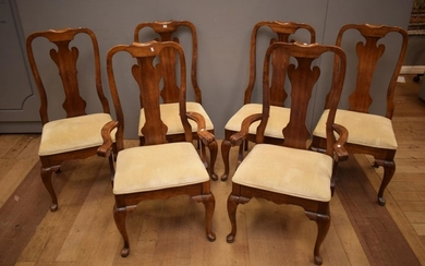 SIX HIGH BACK OAK DINING CHAIRS INCLUDING TWO CARVERS (A/F)