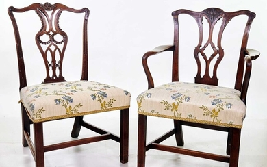 Set of six George III style mahogany Chippendale dining chairs