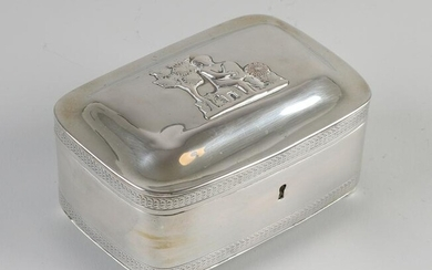 Silver tea box, rectangular model with rounded corners