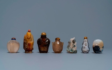 Six Chinese carved agate snuff bottles and a...
