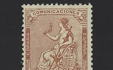 Spain 1873 - Isabella II. Allegory of Spain. Well centred. - Edifil 139