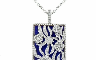 Stambolian White Gold and Diamond Floral Pendant with