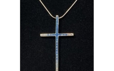 Sterling Silver Cross set with Blue and White Sapphires comp...